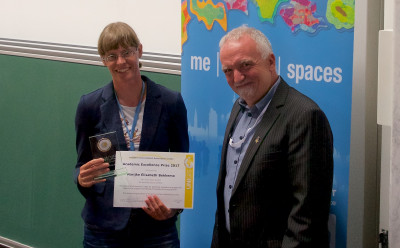 Marijke Bekkema receiving the Academic Excellence Prize at the GI_Forum in Salzburg